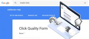 The Google Ads invalid clicks claim form
