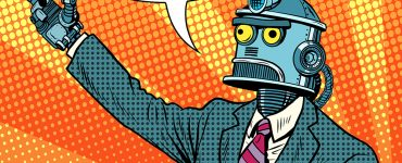 I'm not a robot says a robot with pop art background