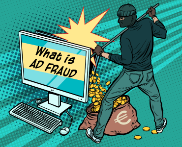 robber doing ad fraud by stealing money from desktop computer.
