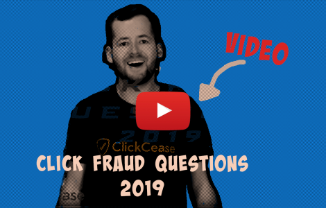 Youtube video button on top of a man about to explain answers to the top questions regarding click fraud protection