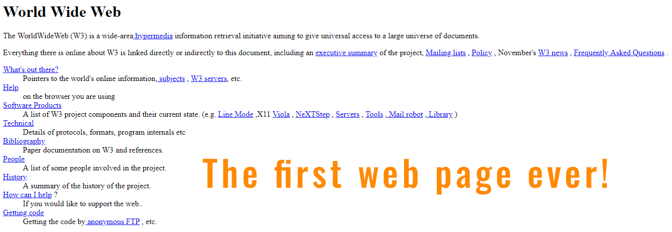 Image of the first web page released to the world wide web in 1991