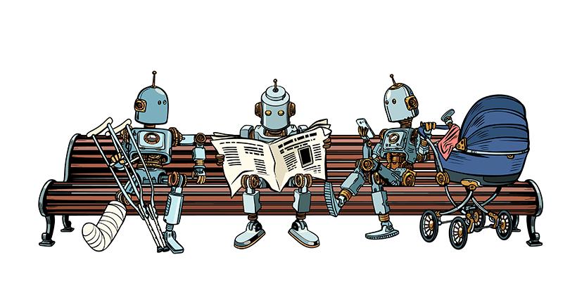 bots sitting on bench