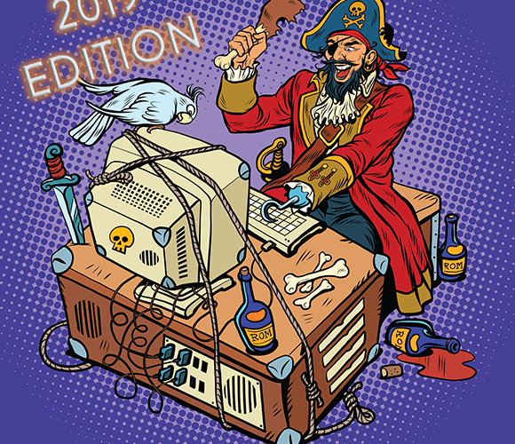 pirate committing fraud on desktop
