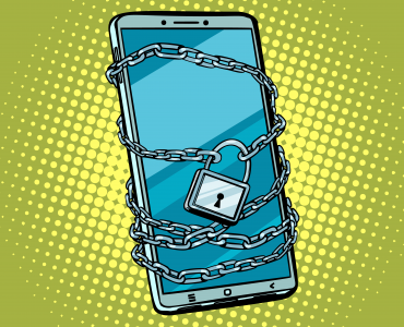 mobile phone locked with chain