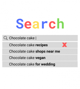 search box suggested results with negative keyword example