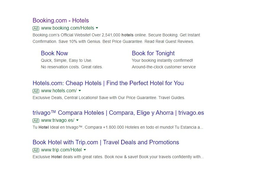 An example of hotel search results for improved CTR