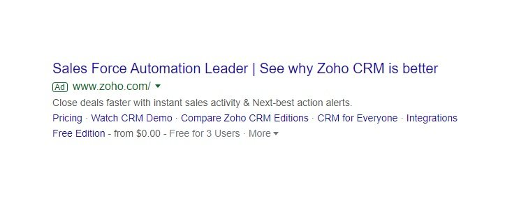 A PPC search result for sales force and zoho