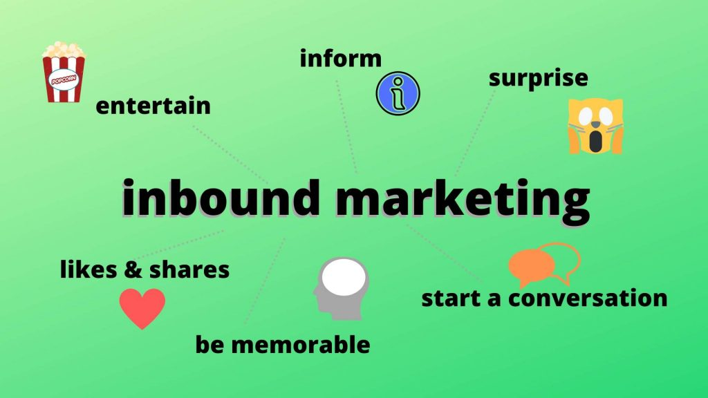The aims of inbound marketing are to entertain, inform, surprise, gain likes and start a conversation