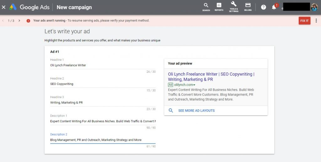 Writing the copy for a Google Ads smart campaign is the same for any Adwords PPC ad