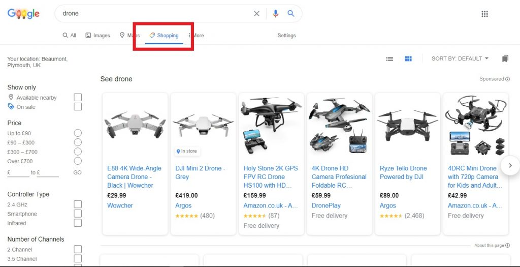 Click on the Google Shopping tab and you can customise your filters to find what you're looking for