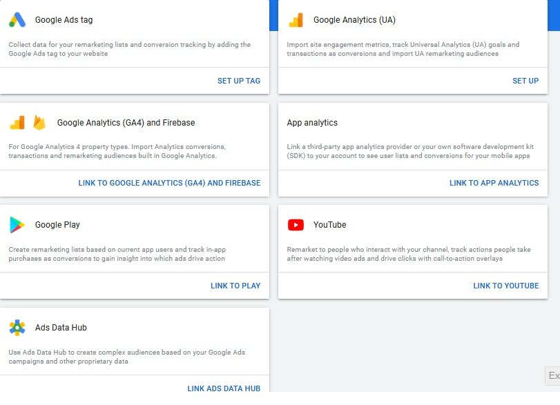 Google Remarketing channel options