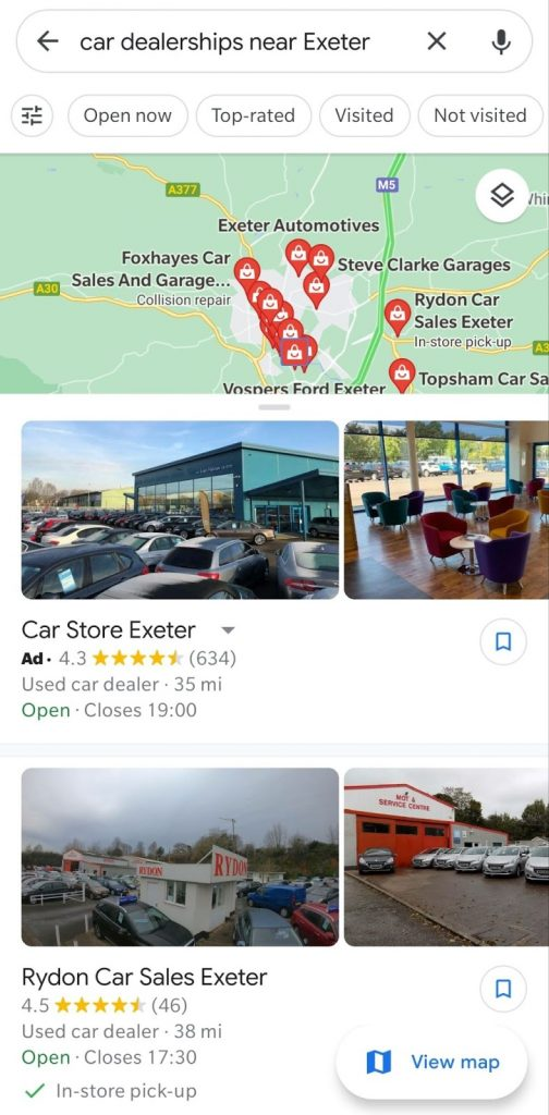 Mobile ads on Google Maps can be very useful for high value sales items