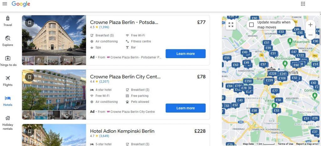 On desktop, ads on Google Maps can help choose a hotel