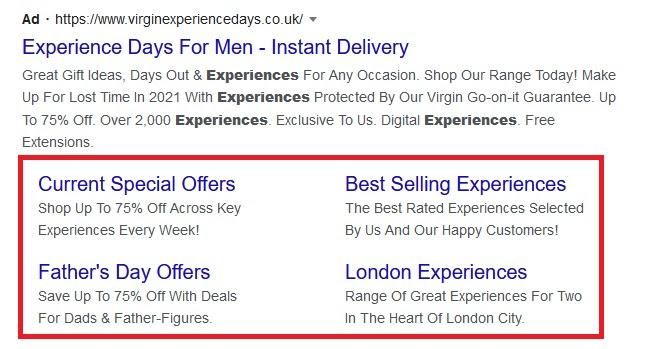 An example of sitelink extensions in Google Ads